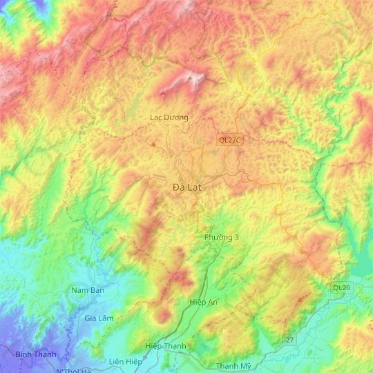 Dalat topographic map, relief map, elevations map