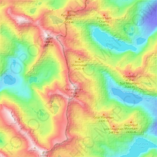 Mountaineer Glacier topographic map, elevation, relief
