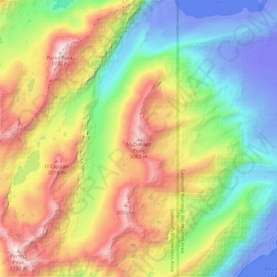 McDonald Peak topographic map, elevation, relief