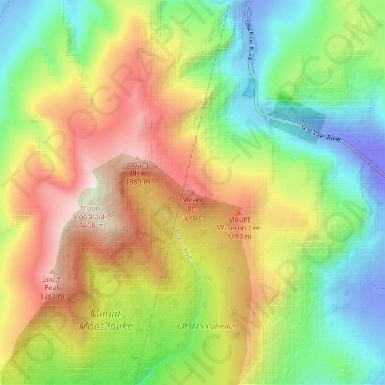 Mount Jim topographic map, elevation, relief