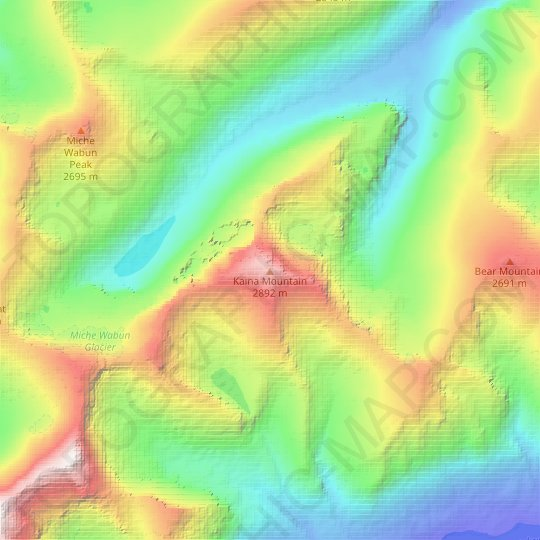 Kaina Mountain topographic map, elevation, relief