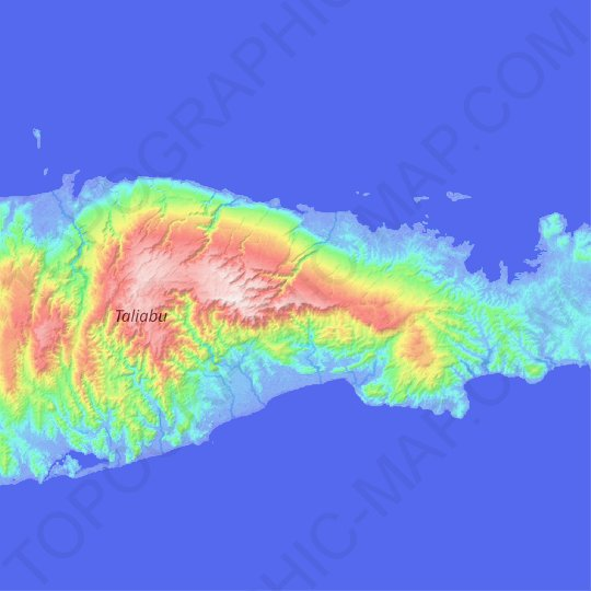 Taliabu Island topographic map, elevation, relief