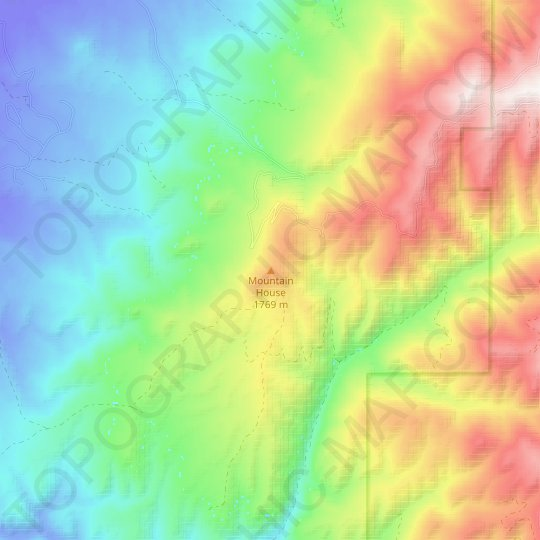 Mountain House topographic map, relief map, elevations map