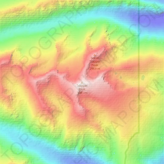 Trapper Peak topographic map, elevation, relief