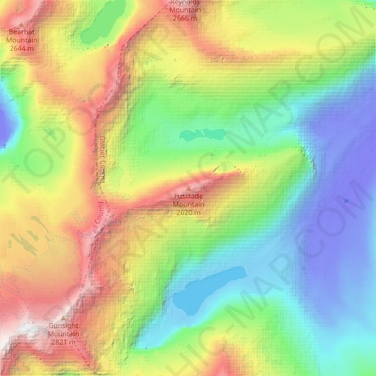 Fusillade Mountain topographic map, elevation, relief
