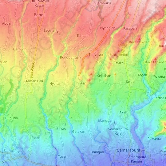 Aan topographic map, relief map, elevations map
