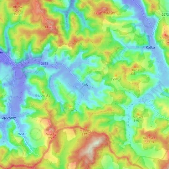 Pleš topographic map, relief map, elevations map
