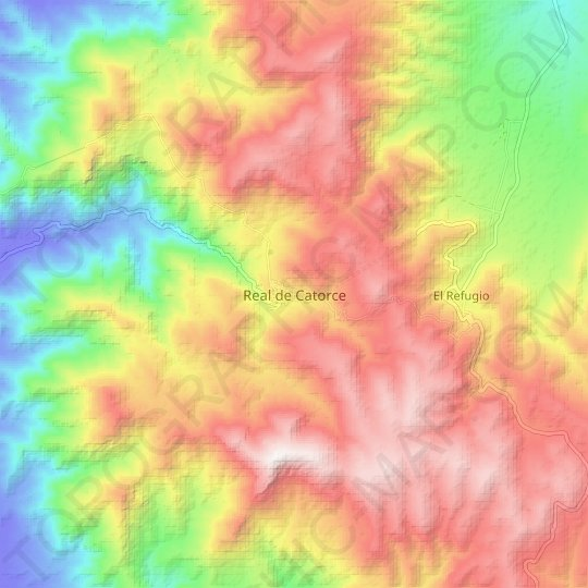 Real de Catorce topographic map, relief map, elevations map