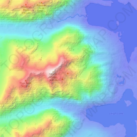 Skillet Glacier topographic map, relief map, elevations map