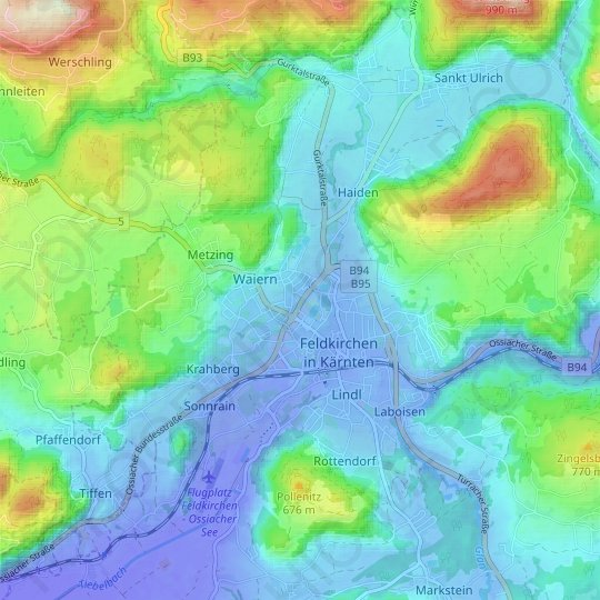 Feldkirchen topographic map, relief map, elevations map
