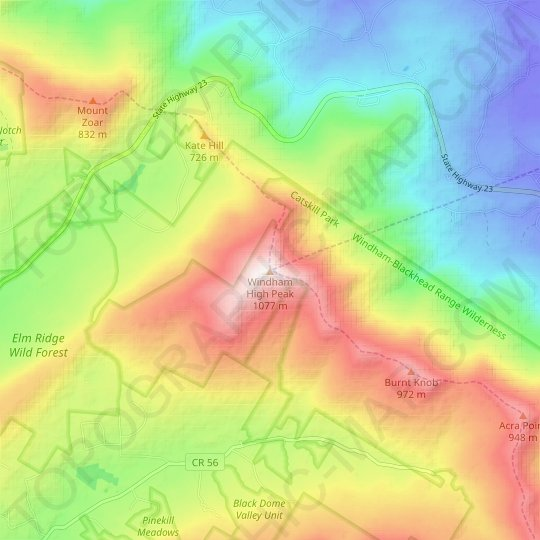 Windham High Peak topographic map, relief map, elevations map
