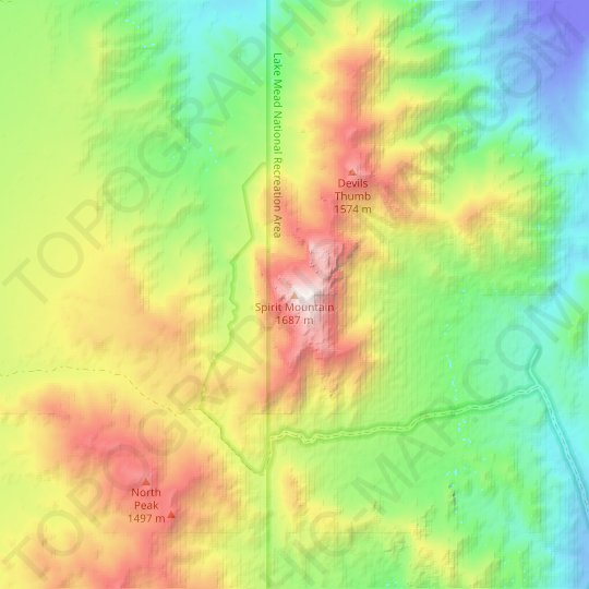 Spirit Mountain topographic map, elevation, relief