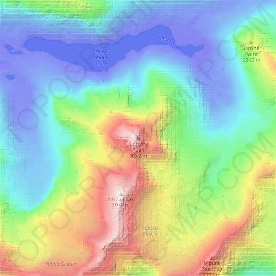 Kinnerly Peak topographic map, elevation, relief