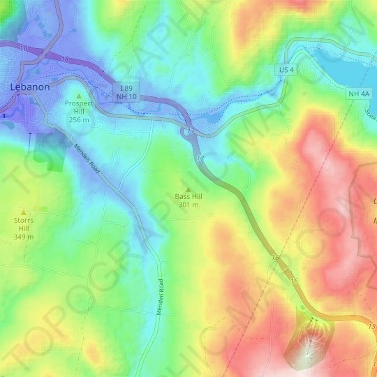 Bass Hill topographic map, elevation, relief