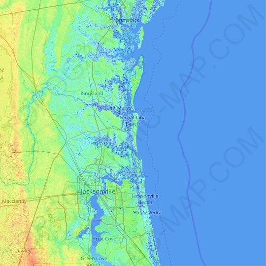 Amelia Island topographic map, elevation, relief