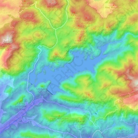 North Saluda Reservoir topographic map, relief map, elevations map