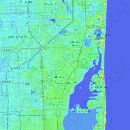 North Miami topographic map, relief map, elevations map