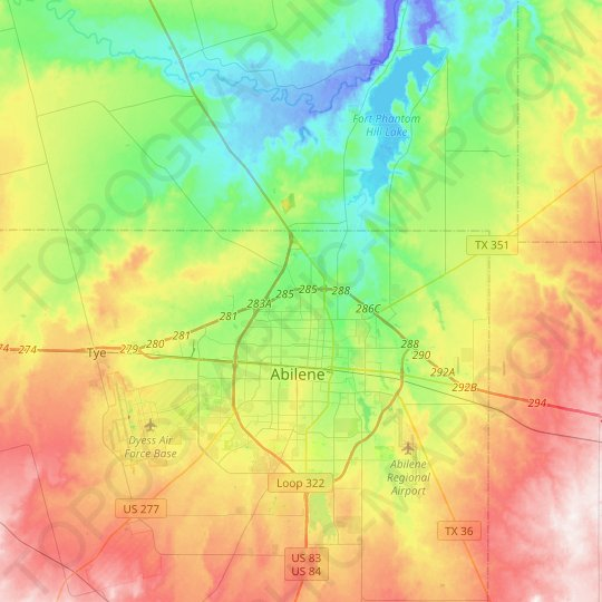 Abilene topographic map, relief map, elevations map