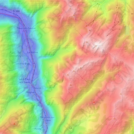 Cevins topographic map, relief map, elevations map