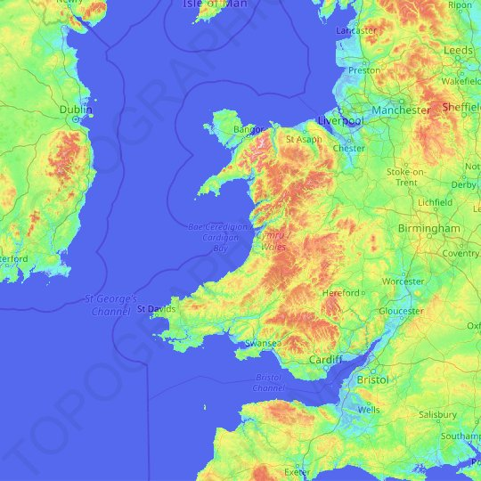 Wales topographic map, relief map, elevations map