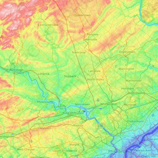 Montgomery County topographic map, relief, elevation
