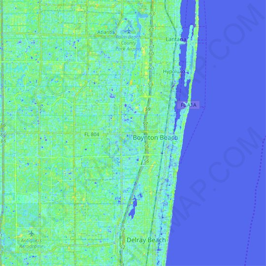 Boynton Beach topographic map, relief map, elevations map