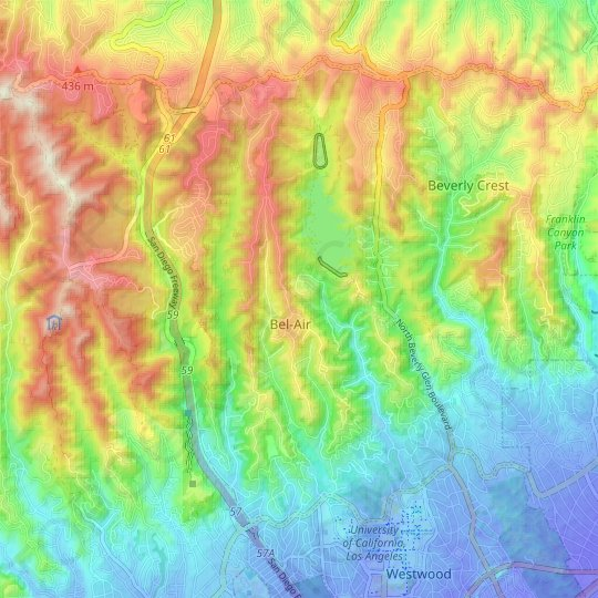 Bel-Air topographic map, elevation, relief