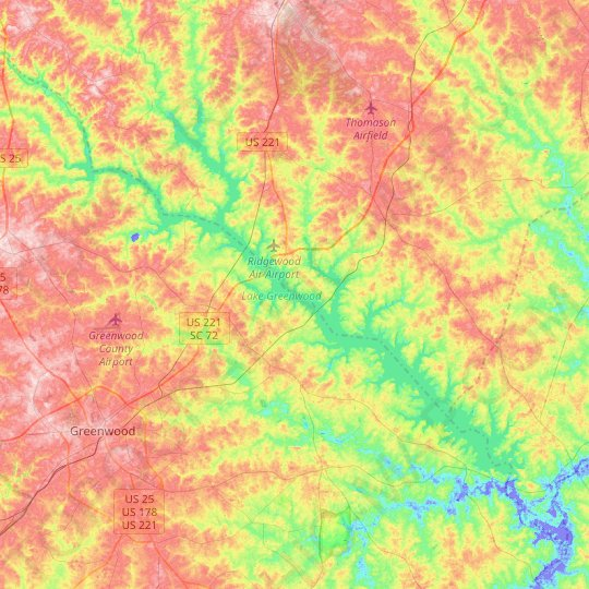 Lake Greenwood topographic map, relief map, elevations map