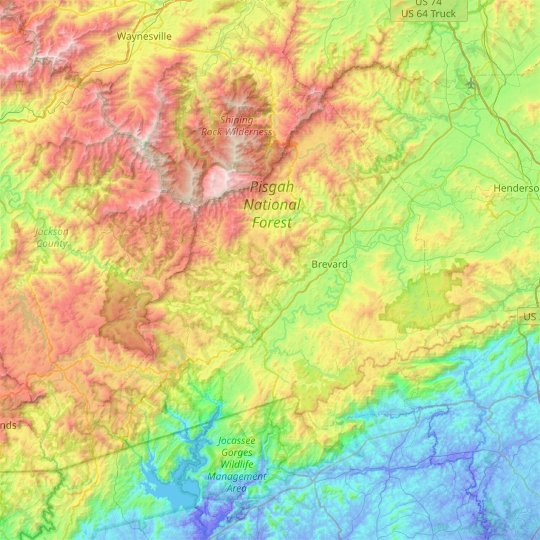 Transylvania County topographic map, relief, elevation