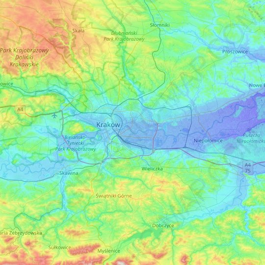 Krakow topographic map, relief, elevation