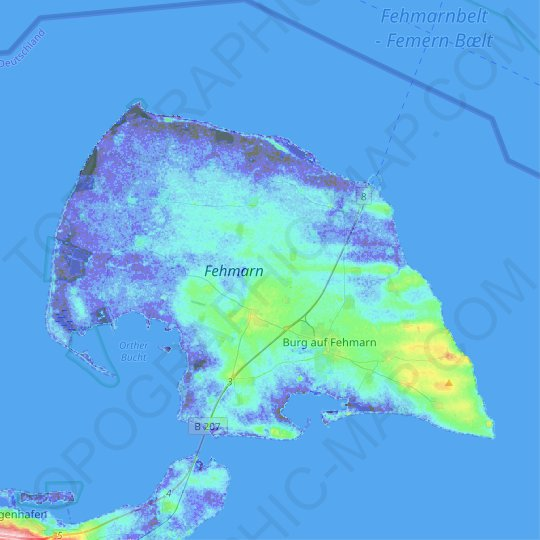 Fehmarn topographic map, relief map, elevations map