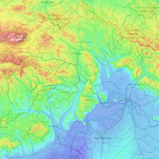Region of Košice topographic map, relief map, elevations map