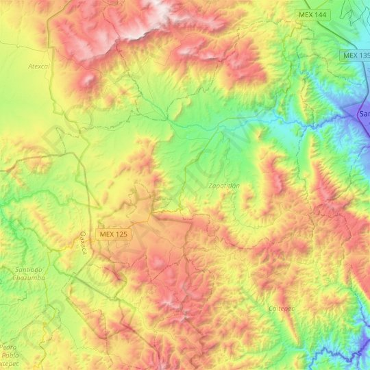 Zapotitlán topographic map, relief map, elevations map