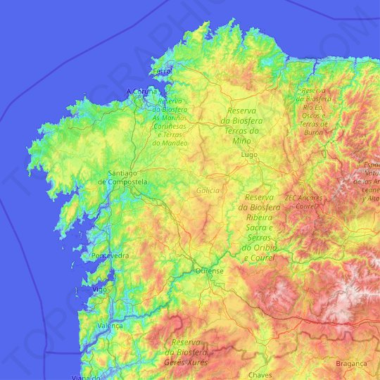 Galicia topographic map, relief map, elevations map