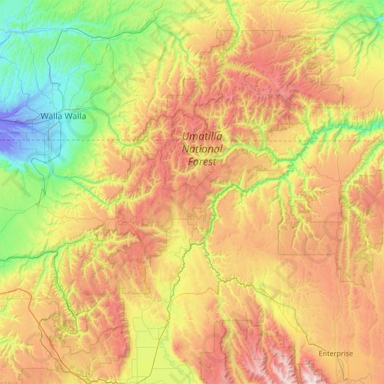Umatilla National Forest topographic map, relief map, elevations map