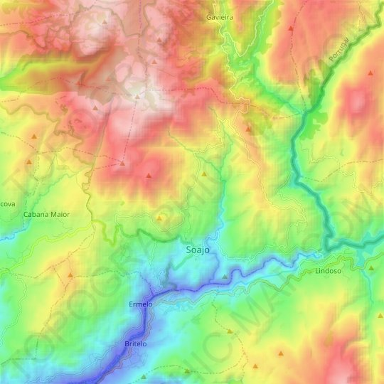 Soajo topographic map, relief map, elevations map