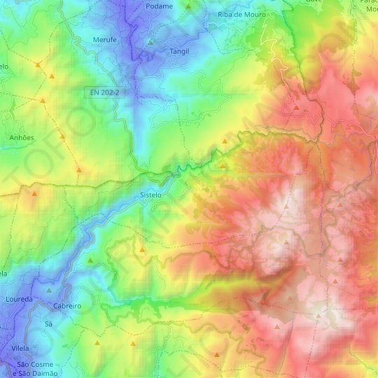 Sistelo topographic map, relief map, elevations map