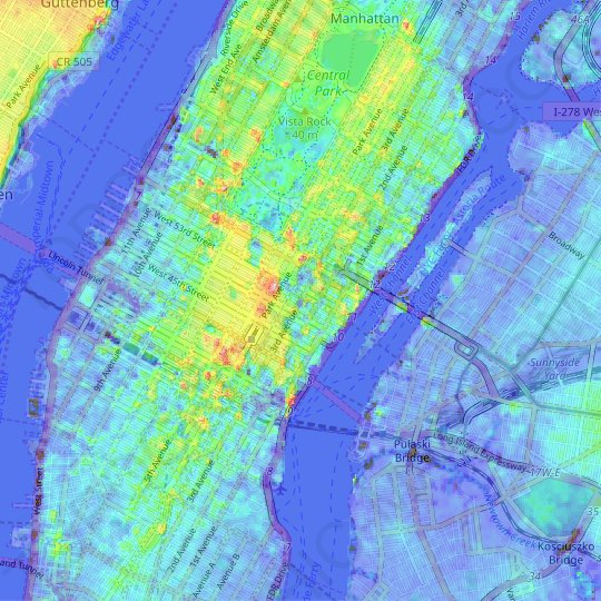 Midtown East topographic map, elevation, relief