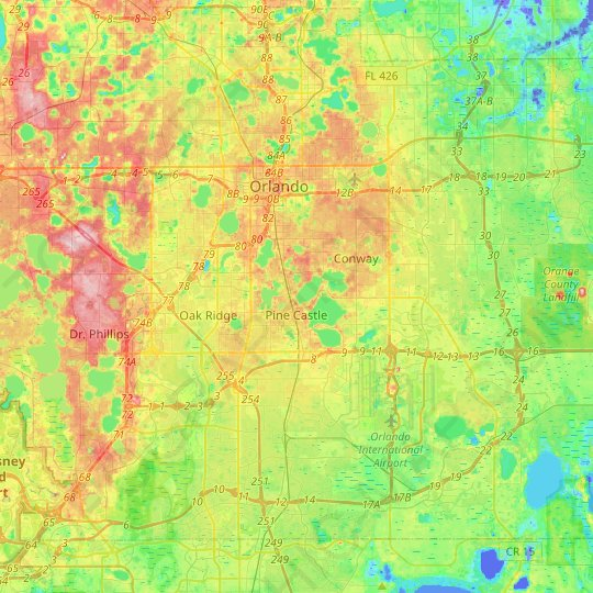 Orlando topographic map, relief map, elevations map
