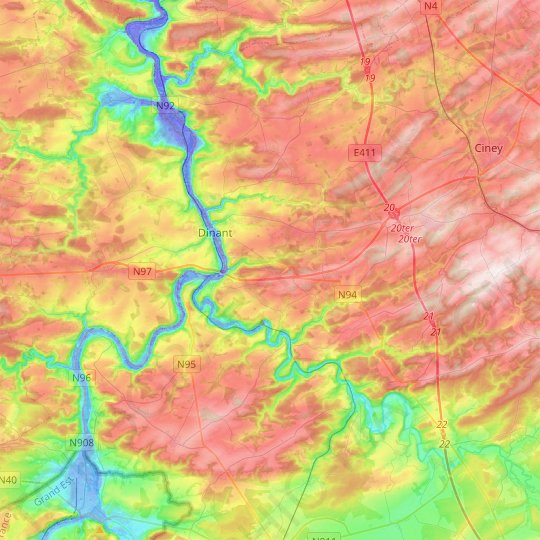 Dinant topographic map, relief map, elevations map