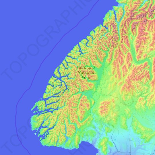 Fiordland National Park topographic map, relief map, elevations map