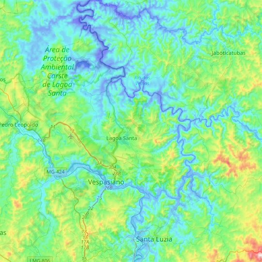 Lagoa Santa topographic map, relief map, elevations map