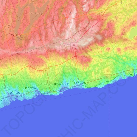 Clarington topographic map, relief map, elevations map