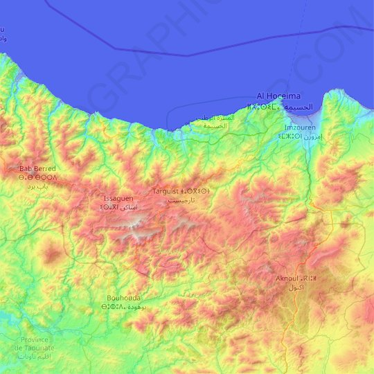 Al Hoceima Province topographic map, relief map, elevations map