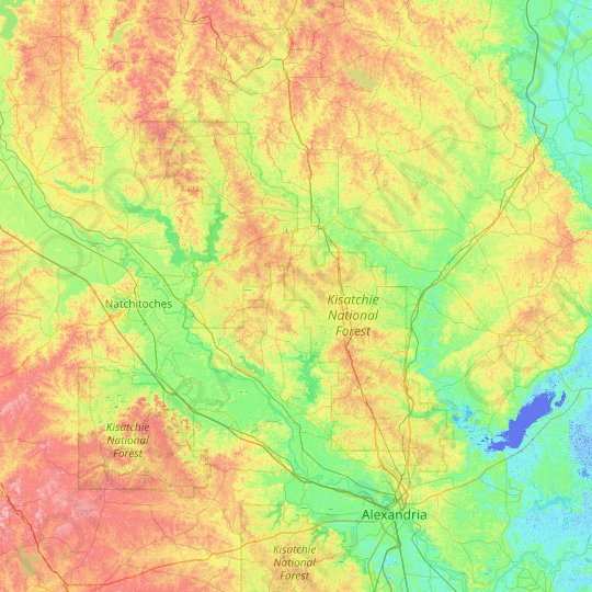Kisatchie National Forest topographic map, elevation, relief