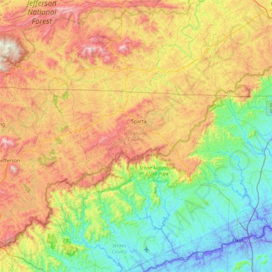 Alleghany County topographic map, elevation, relief