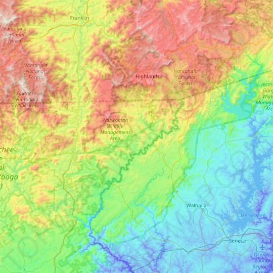 Chattooga River topographic map, relief map, elevations map