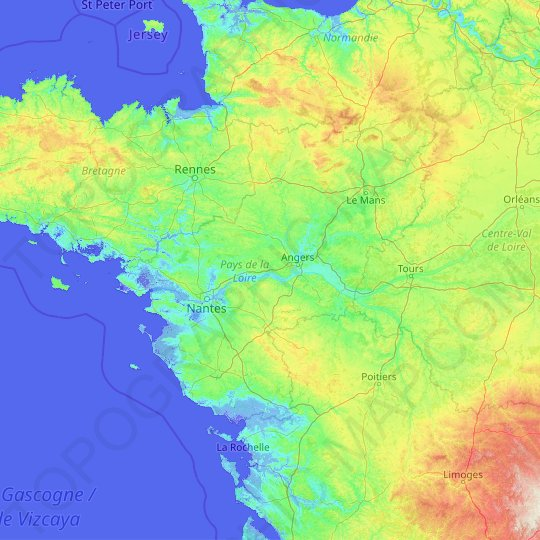 Pays de la Loire topographic map, relief map, elevations map