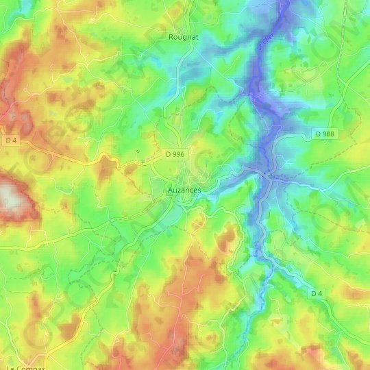 Auzances topographic map, relief map, elevations map