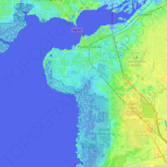Punta Gorda topographic map, relief map, elevations map